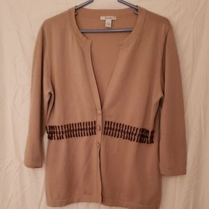 Beige cardigan with brown bead accent